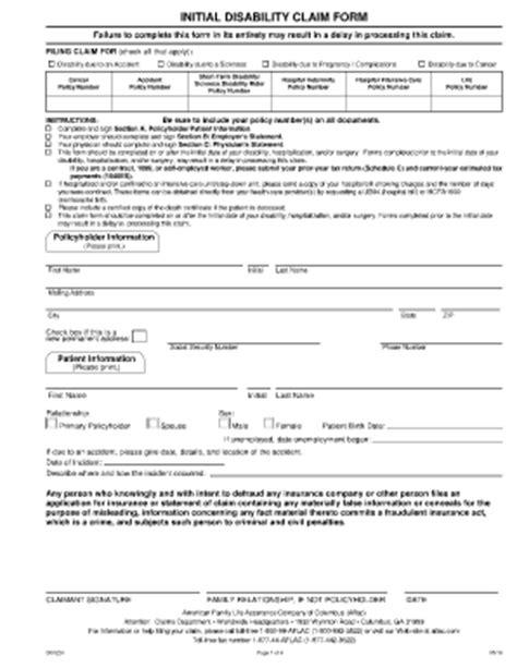 forms of disability disability claim forms print paper templates