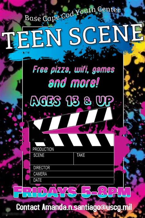 teen scene flyer  uscg base cape  mwr