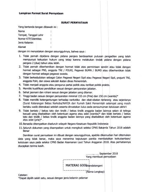 Surat Pernyataan Bersedia Ditempatkan Di Kantor Kejaksaan Seluruh Indonesia by Wow Contoh Surat Pernyataan 10 Poin Cpns 72 Di Inspirasi
