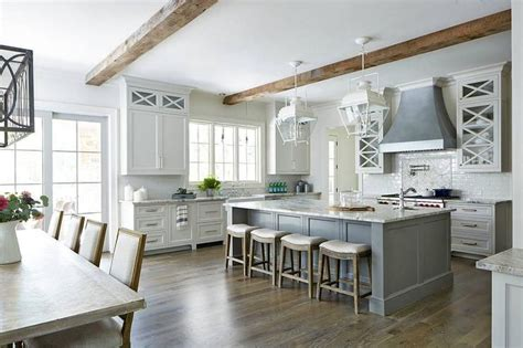 gorgeous gray  white transitional kitchen  rustic