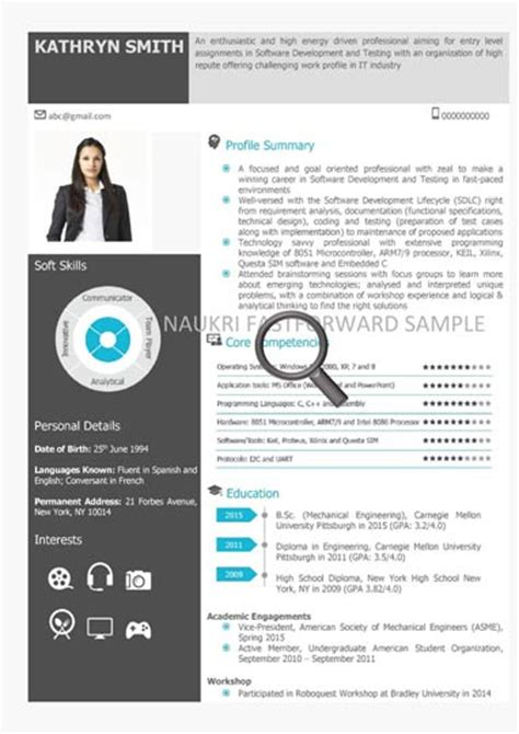Visual Resume Sles by Visual Cv Sles Visual Sle Cv Naukrigulf