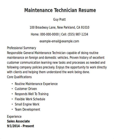 General Maintenance Resume by Sle Maintenance Technician Resume 9 Exles In Word