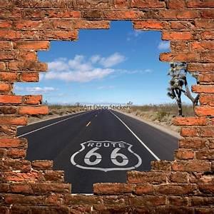 Mur Trompe L Oeil : sticker mural trompe l il mur de pierre route 66 us stickers muraux deco ~ Melissatoandfro.com Idées de Décoration