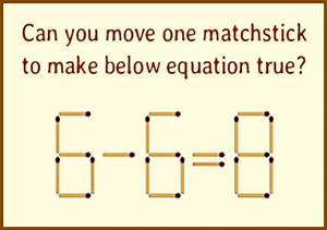 Matchstick Puzzle   Can You Move One Matchstick To Make Below Equation True