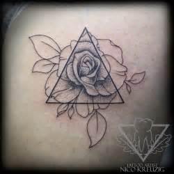 Triangle Geometric Flowers Tattoo