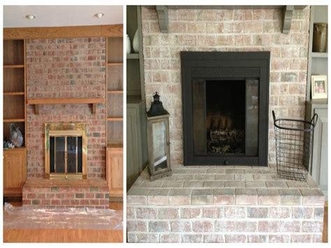 whitewash fireplace whitewashing brick fireplace ideas