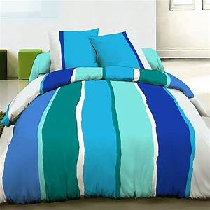 Parure De Lit Bleu : parure de lit housse de couette 220x240 coton lilly bleu pas cher ~ Teatrodelosmanantiales.com Idées de Décoration