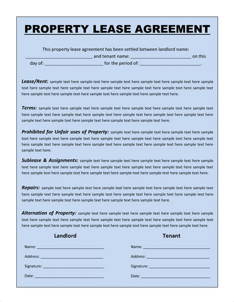 perfect sample  property lease agreement template
