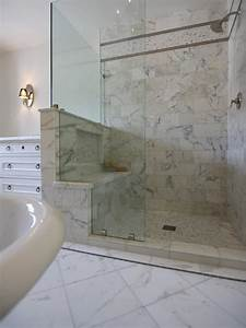 Transitional, Bathroom, With, Glass, Shower