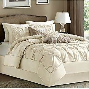 amazon com king size 7 piece comforter set ivory luxury modern bedding on clearance sale