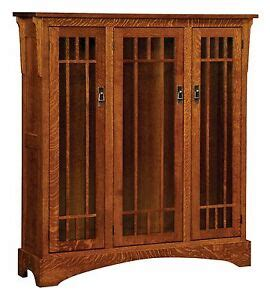 Mission Bookcase Glass Doors by Amish Midway Mission Craftsman Solid Wood Bookcase 3 Glass