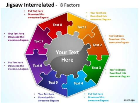 jigsaw interrelated  factors powerpoint templates