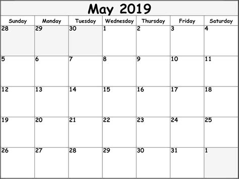 blank template calendar  printable monthly