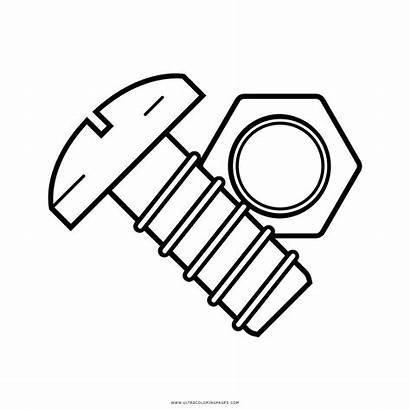 Nut Coloring Bolt Clipart Pages Colouring Screw