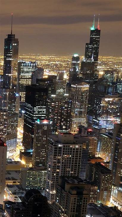 1440 2560 Skyline Wallpapers Chicago Galaxy Night