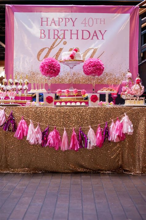 pink and gold 40th birthday decorations kara s ideas glamorous pink gold 40th birthday