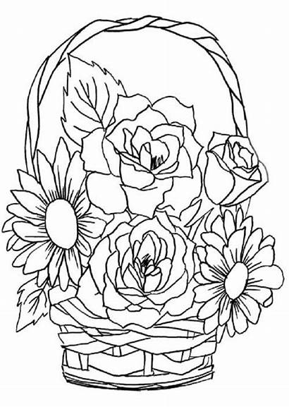 Flores Colorear Imprimir Dibujo Cesta Pintar Dibujosparacolorear
