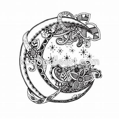 Coloring Pages Adult Moon Half Doodle Books