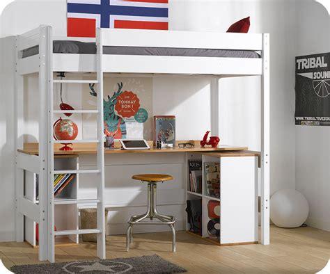 lit mezzanine avec bureau lit mezzanine clay blanc avec bureau