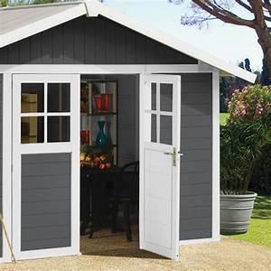 abri de jardin en pvc 112m2 deco gris fonce et blanc With abri de jardin resine grosfillex