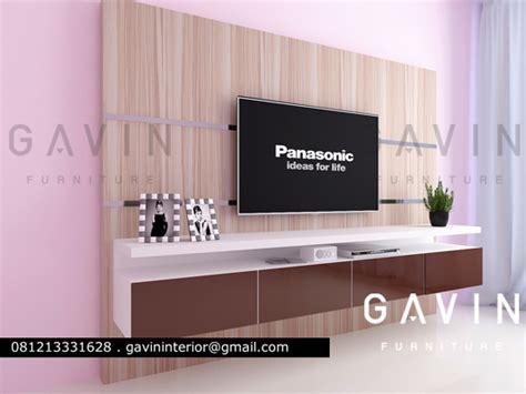 credenza tv minimalis pembuatan backdrop tv untuk klien green andara jaksel
