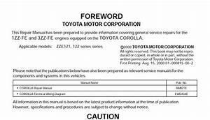 Toyota 1zz-fe  3zz-fe Engine Repair Manual  Rm923e
