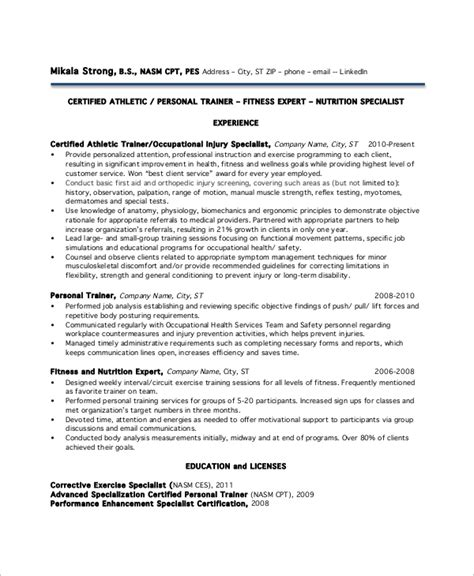 Sle Personal Trainer Resume by Sle Personal Trainer Resume 9 Exles In Word Pdf