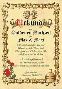 Karte Zur Hochzeit : urkunde goldene hochzeit karte jubil um gratulation c672 ~ A.2002-acura-tl-radio.info Haus und Dekorationen