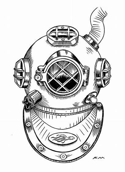 Scuba Helmet Diving Tattoo Drawing Astronaut Paper