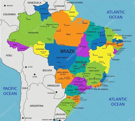 mapa politico  brasil colorido vetores de stock