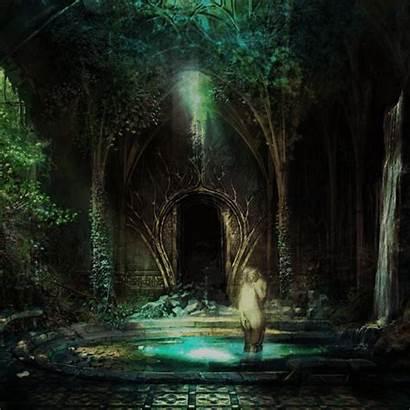Ruins Elven Fantasy Concept Dark Manor Fiction