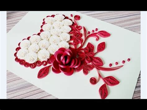 diy paper quilling flower card design  quilling heart