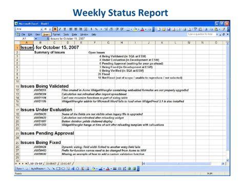 essential software  weekly status report