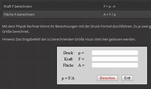 Träger Auf Zwei Stützen Online Berechnen : druck druckkraft und gedr ckte fl che ~ Themetempest.com Abrechnung