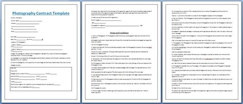 professional photography contract template