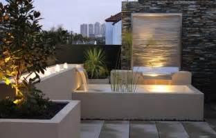 balkon brunnen modern rooftop patio gardens revive landscape design