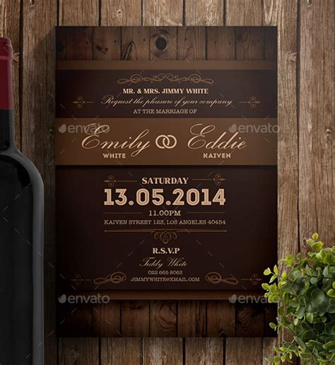 country feels template 28 rustic wedding invitation design templates psd ai
