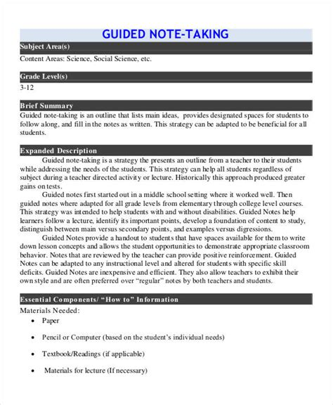 guided note templates  word  format
