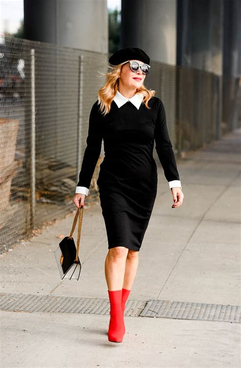 Red Sock Boots Black u0026 White Dress   The Hunter Collector