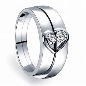 Unique heart shape couples matching wedding band rings on for Matching wedding rings