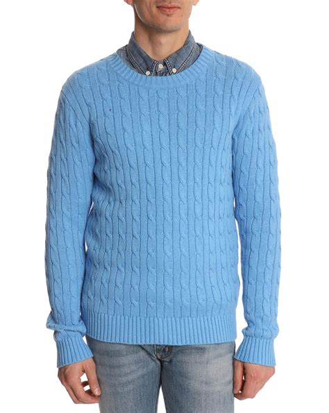 sweater for gant rugger cable blue sweater in blue for lyst