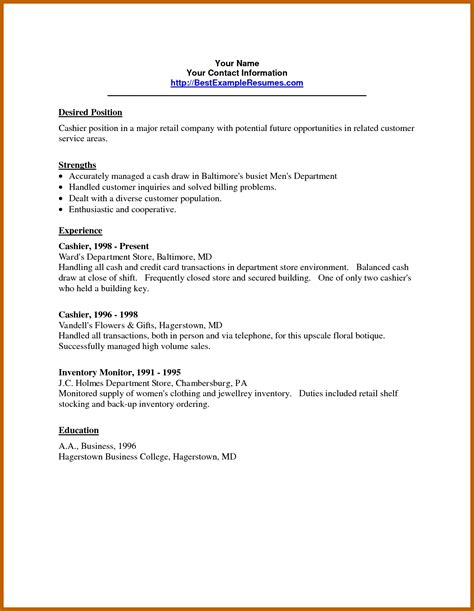 Fast Food Cashier Resume Exles by 8 9 Retail Cashier Resume Resumesheets