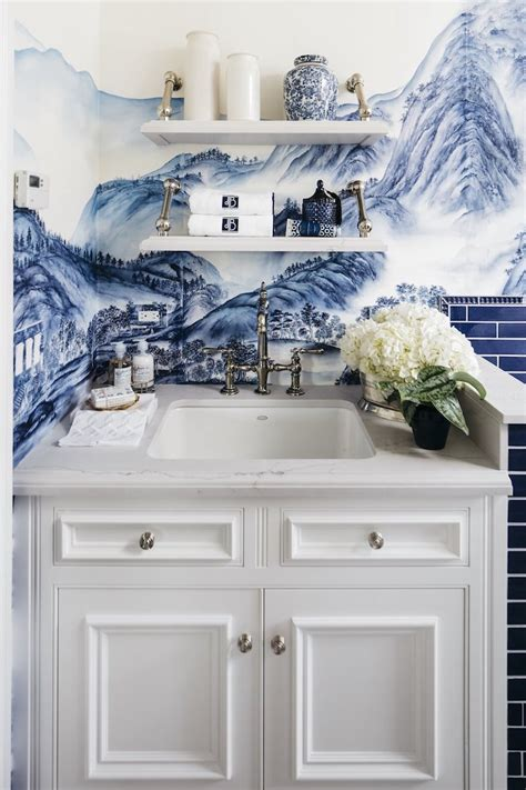 chinoiserie chic blue laundry room  san francisco