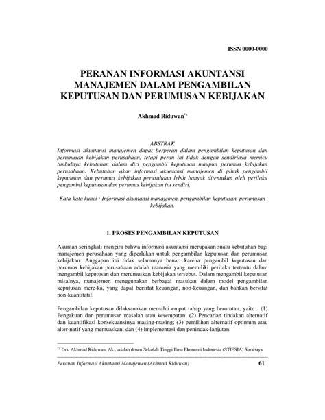 (PDF) PERANAN INFORMASI AKUNTANSI MANAJEMEN DALAM