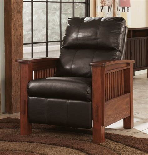santa fe collection chocolate colored faux leather upholstered mission style recliner chair