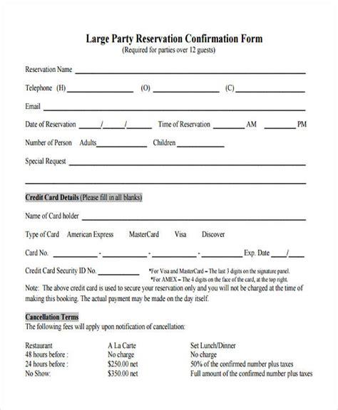 restaurant reservation forms