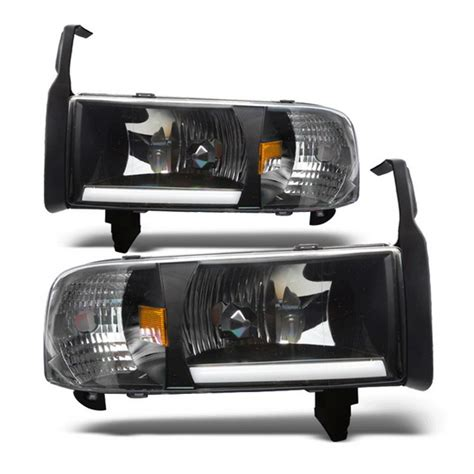 94 01 dodge ram 1500 black housing led headlights w
