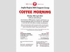 Cambridge Informal Coffee Morning 30 April 2012 MDS