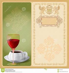 Vintage Business Card Template Background With Glass Of Wine And Cup Of Coffee Stock