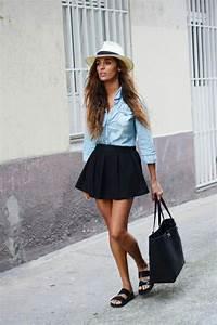 Tenue Printemps Femme : 1001 id es avec quoi porter une chemise en jean mode pinterest chemise en jean mode ~ Melissatoandfro.com Idées de Décoration